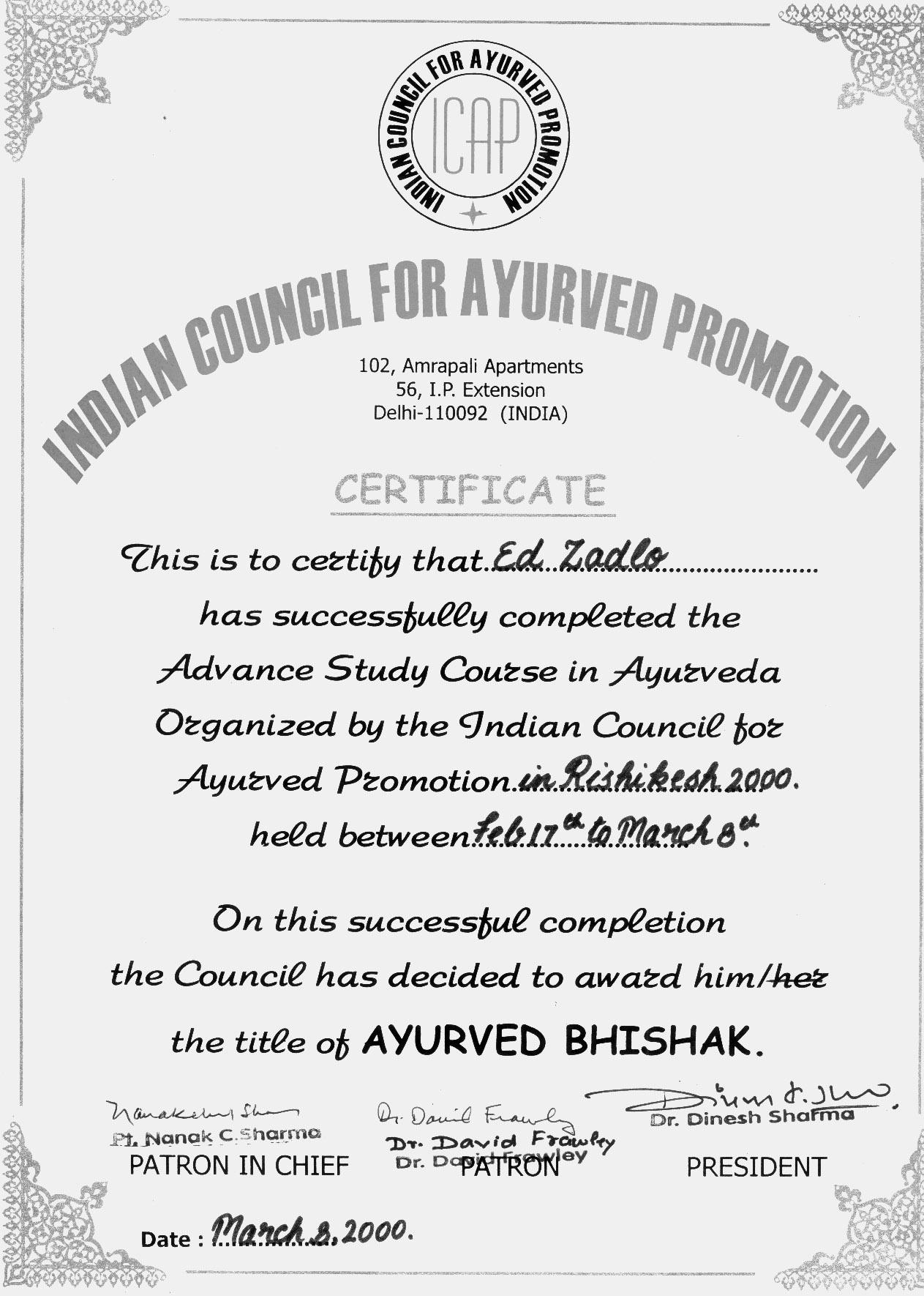 Ed zadlo day about ay bhishak certif neiam certificate xflitez Choice Image